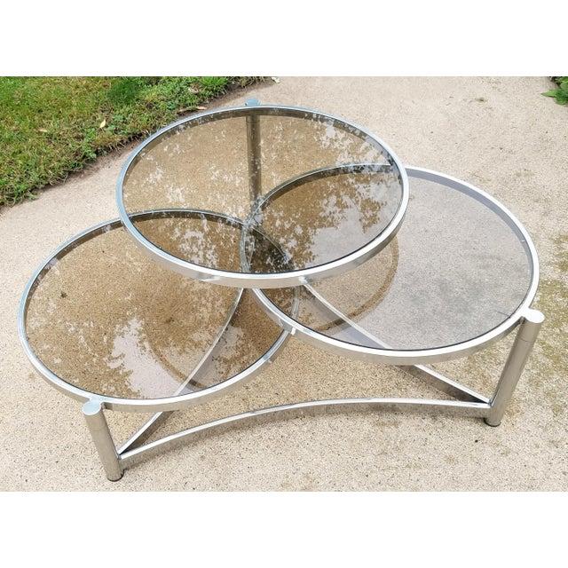 Milo Baughman Tri Level Chrome and Glass Swivel Coffee Table - Image 2 of 11