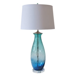 Ocean Blue and Green Glass Table Lamp