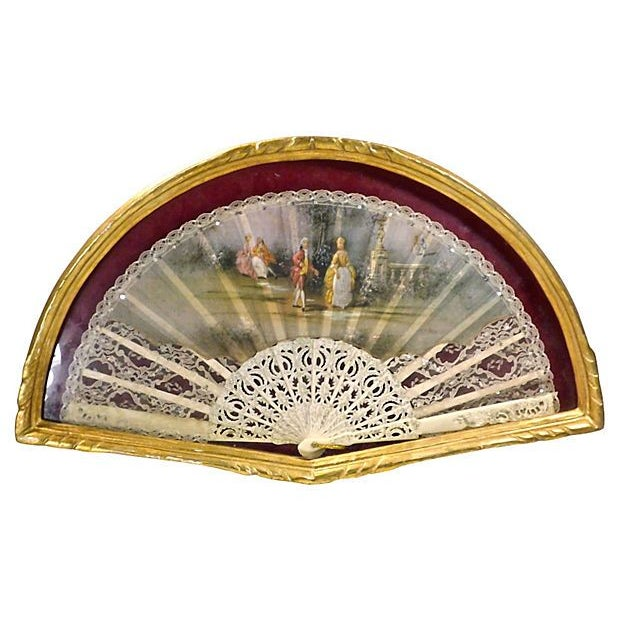 Vintage Giltwood Framed Scene Fan - Image 1 of 2