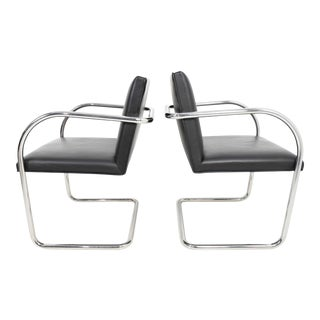 Pair of Tubular Brno Chair in Black Leather by Knoll