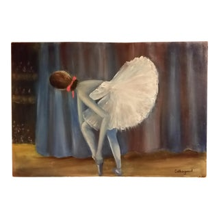 Mid-Century Ballet Dancer Oil Painting on Board
