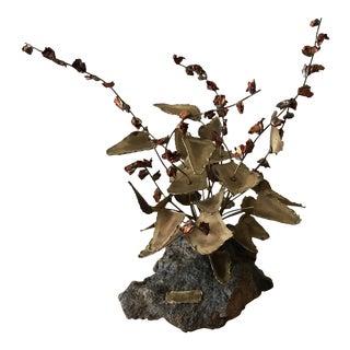 Vintage Brutalist Brass & Copper Flower Sculpture by Bob Saxon - 1975