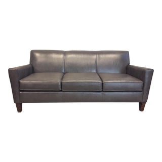 England Company Dark Gray Leather Sofa