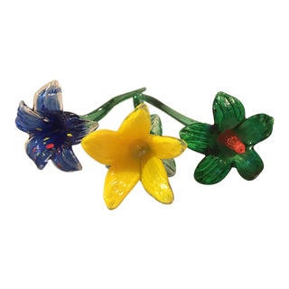 Art Glass Flowers - Set of 3