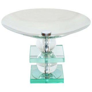 French Art Deco Crystal and Chrome Compote