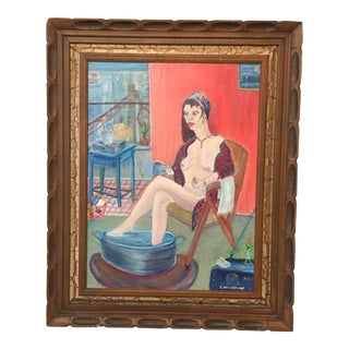 "Vintage ""Nude Room With View"" Painting"