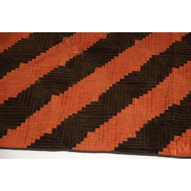 Fantastic 19thc Wool & Velvet Log Cabin Quilt - Image 3 of 7
