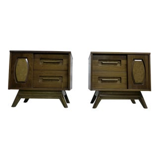 Young Manufacturing Mid Century Modern Nightstands - a Pair