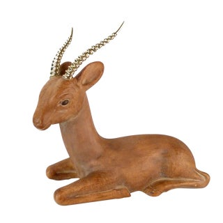 Ceramic Deer With Brass Horns