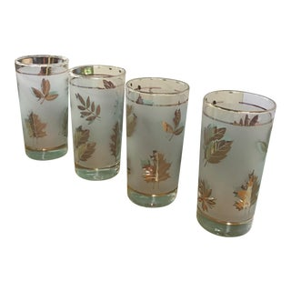 Gold Leaf Frosted Glassware - Set of 4