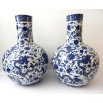 Image of Blue & White Bulb-Shape Dragon Vases - A Pair