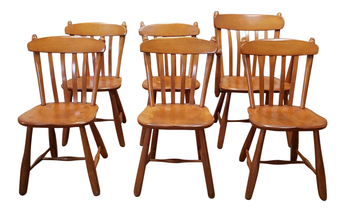 1950s Vintage Winchendon Furniture Solid Rock Maple Old Meeting House  Country Dining Chairs   Set Of 6