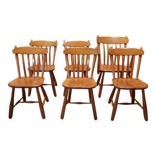 1950s Vintage Winchendon Furniture Solid Rock Maple Old Meeting House Country Dining Chairs - Set of 6