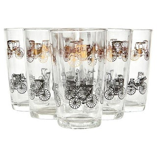 1960's Black & Gilt Carriage Tumblers- Set of 6