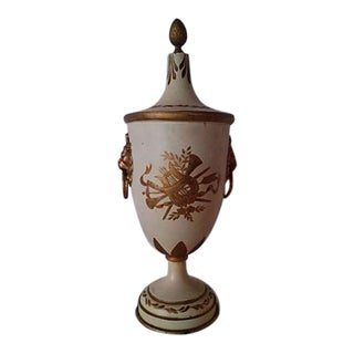 French Tole Neoclassical Painted Urn