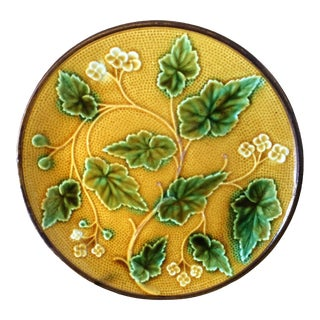 Antique Majolica Gold & Green Plate