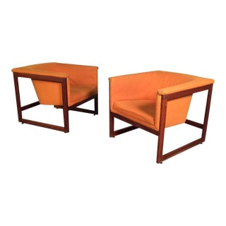 Milo Baughman Mid-Century Modern Floating Cube Chairs - A Pair