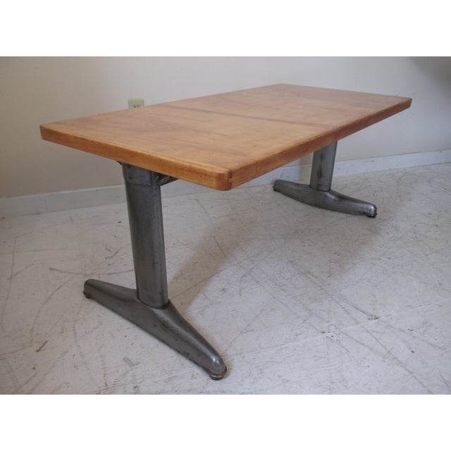 Vintage Institutional Style Maple & Steel Coffee Table - Image 4 of 10