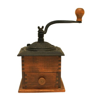 Vintage Cast Iron & Wood Coffee Mill