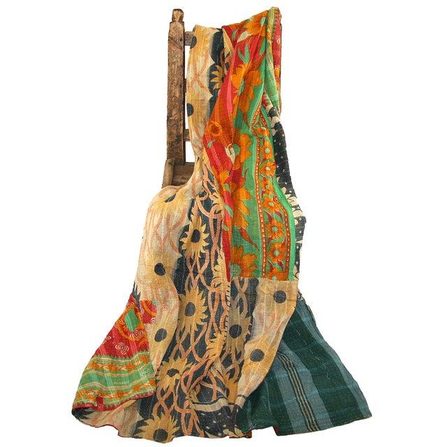 Vintage Red & Green Kantha Quilt - Image 3 of 3