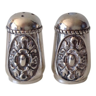 Georgian Style Silver Plate Salt & Pepper Shakers - A Pair