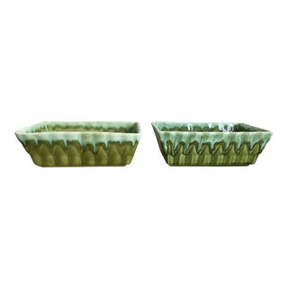 Mint & Chartreuse Boho Chic Planters Pottery - Pair