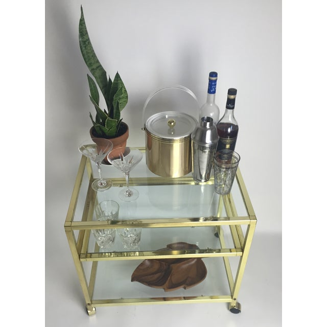 Vintage Brass & Glass End Cart Table - Image 4 of 11