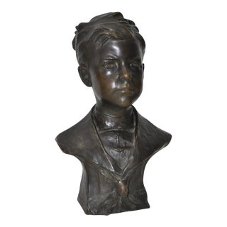 """Early 20th Century C. Romanelli """"Boy Sailor"""" American Patinated Bronze Bust"""