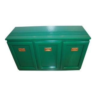 Green Lacquer Campaign Server Bar Cabinet