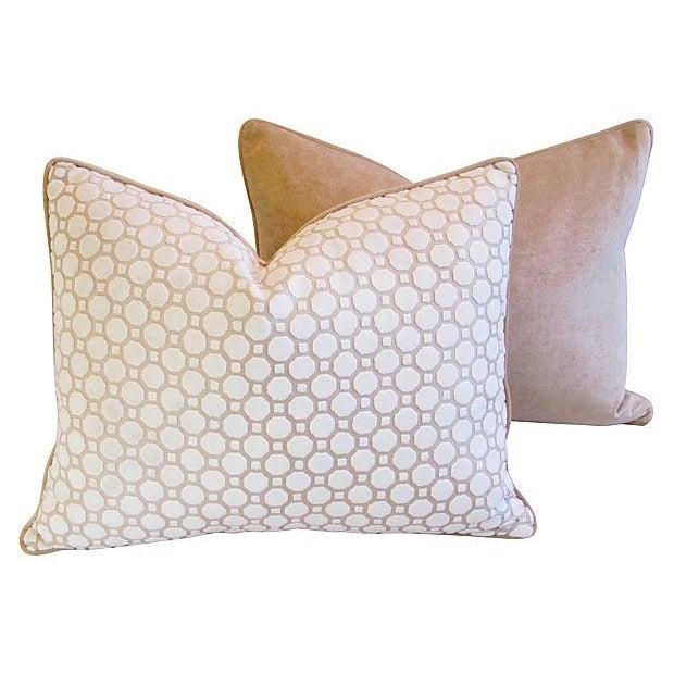 White Velvet Geometric Pillows- A Pair - Image 6 of 7