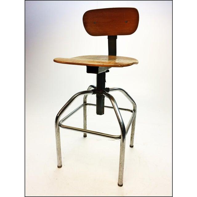 Vintage industrial gray metal wood drafting stool chairish