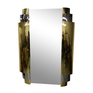 Brass & Chrome Wall Mirror by Curtis Jere