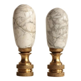White Marble Lamp Finials, A Pair