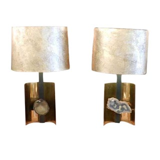 A Pair of Table Lamps in Brass, Steel and Agate in the style of Willy Daro