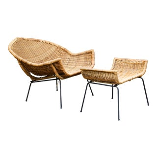 Mid-Century Wicker Lounge & Ottoman