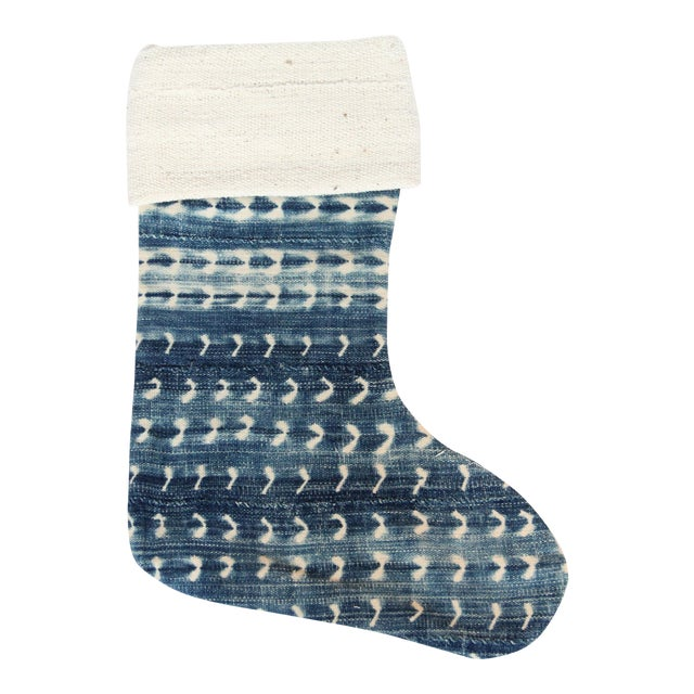 Vintage Indigo and Mudcloth Christmas Stocking - Image 1 of 6
