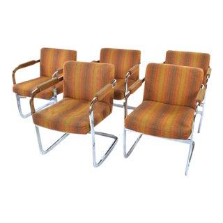 Milo Baughman Thayer Coggins Chrome Armchairs- Set of 5