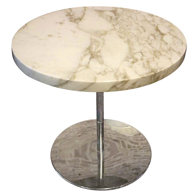 Zographos White Marble & Chromed Steel Side Table - Image 1 of 5