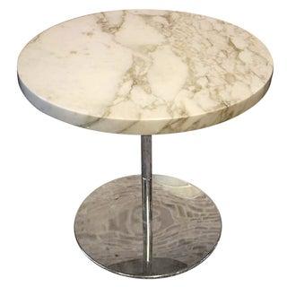 Zographos White Marble & Chromed Steel Side Table