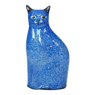 Vintage Chinoiserie Blue & White Pottery Cat