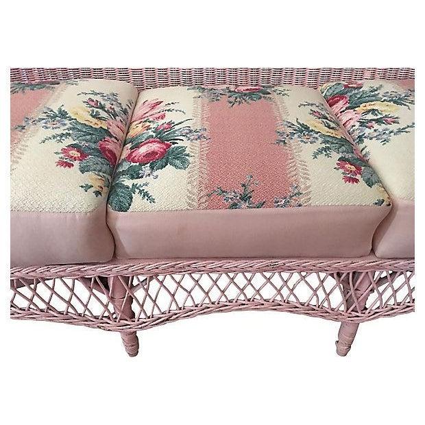 Vintage Pink Wicker Barkcloth Settee Sofa - Image 6 of 8