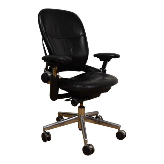Steelcase Leap V2 Leather Office Chair | Chairish
