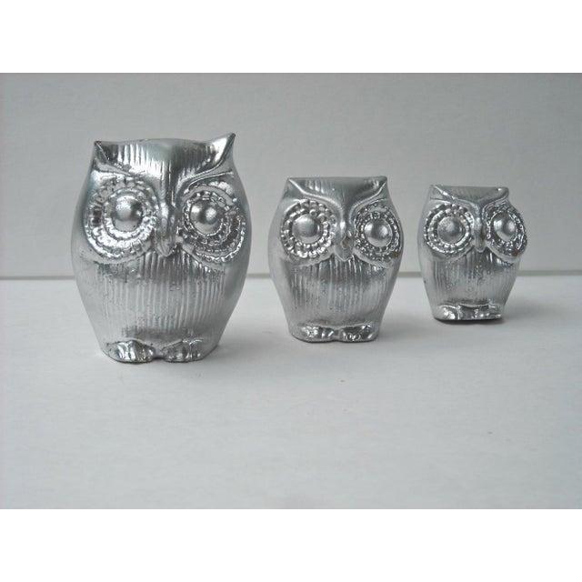 Mid-Century Silver Owl Figurines - Set of 3 - Image 3 of 5