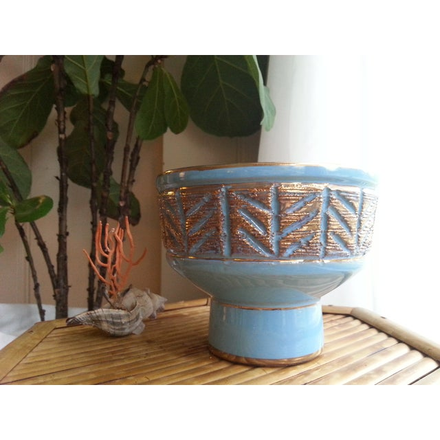 Image of Vintage Italian Blue & Gold Footed Bowl