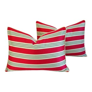 Red, Cream & Green French Stripe Ticking Velvet Feather/Down Pillows - Pair