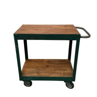 Vintage Green Metal Bar Cart