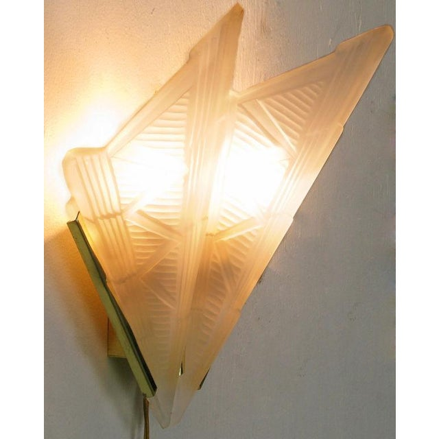 Art Deco Style Brass & Frosted Glass Slip Shade Sconces - Image 3 of 4
