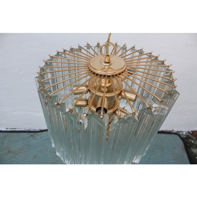 Venini Three-Tiered Glass Prism Chandelier. - Image 4 of 11