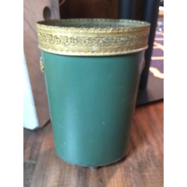 Vintage Tole Waste Basket with Gold Metal Trim - Image 7 of 10