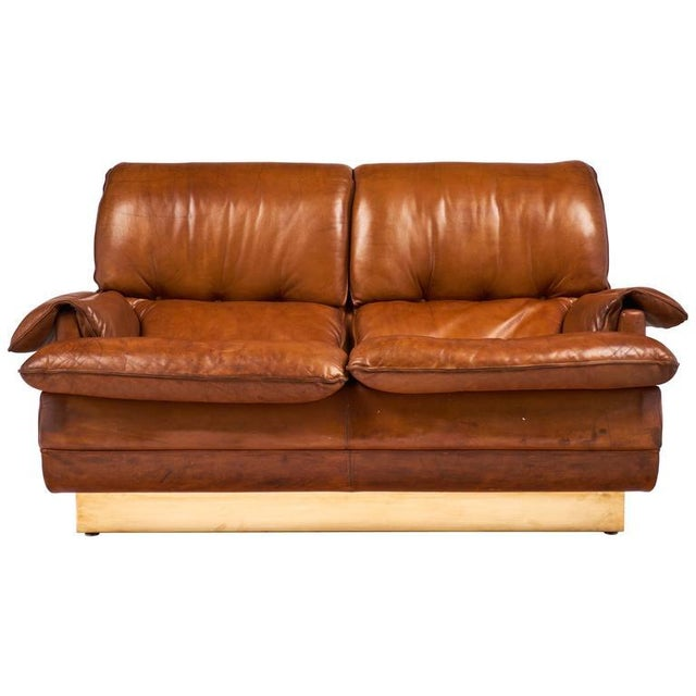 Modernist French Leather and Brass Sofa - Image 2 of 11